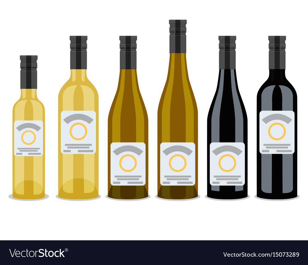 Set of bottles of wine flat design