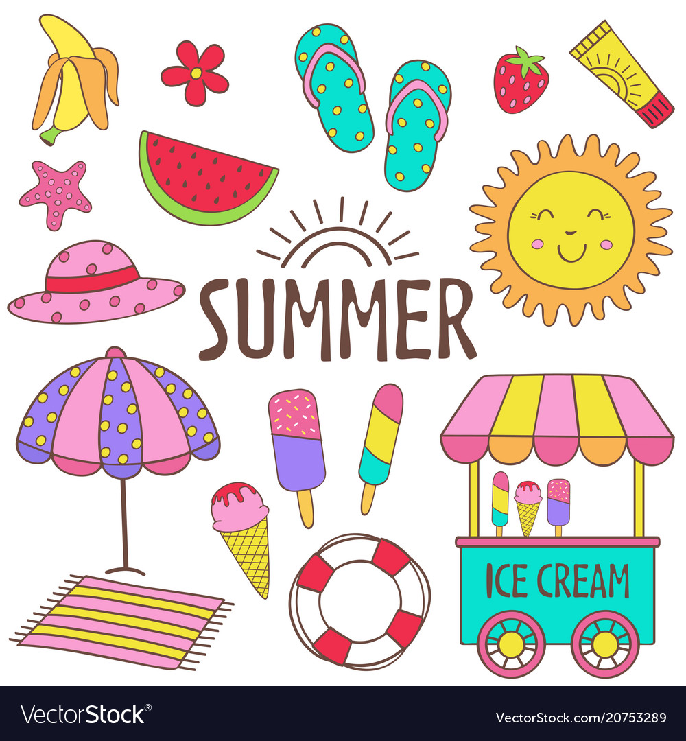 Set of isolated summer icon part 1