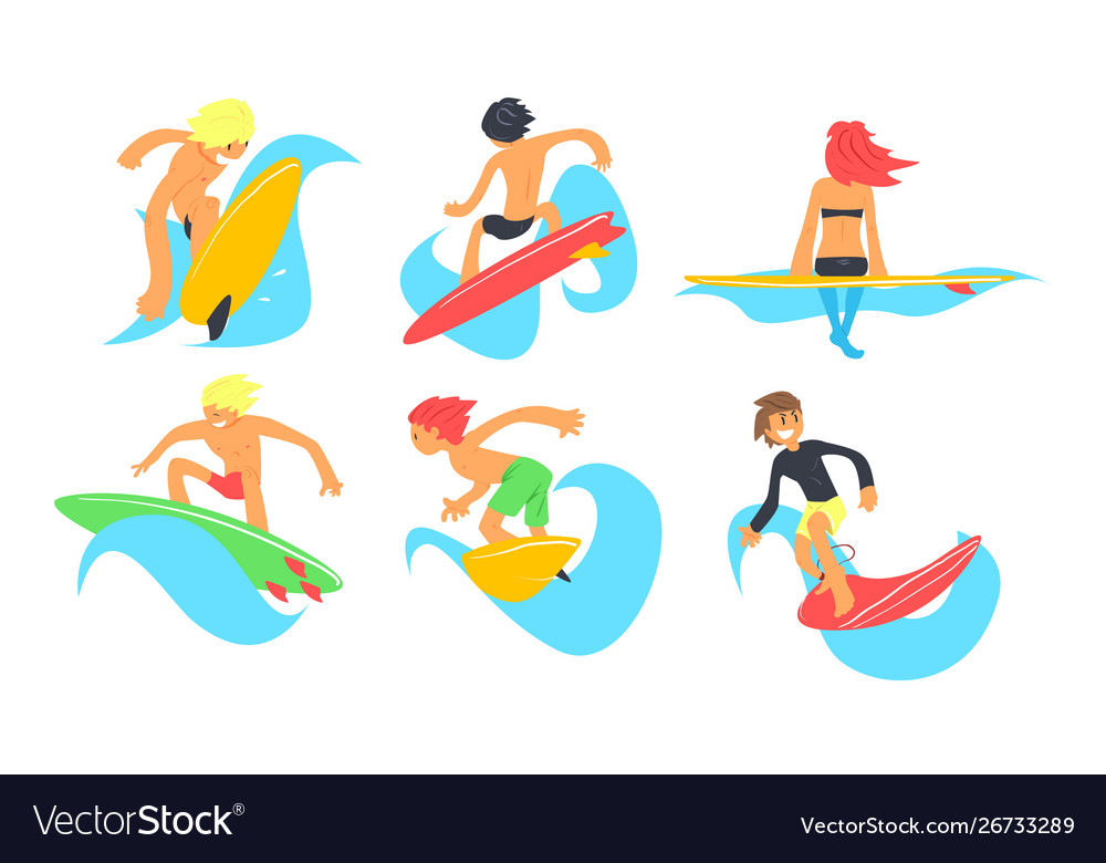Surfers characters riding waves set young man and