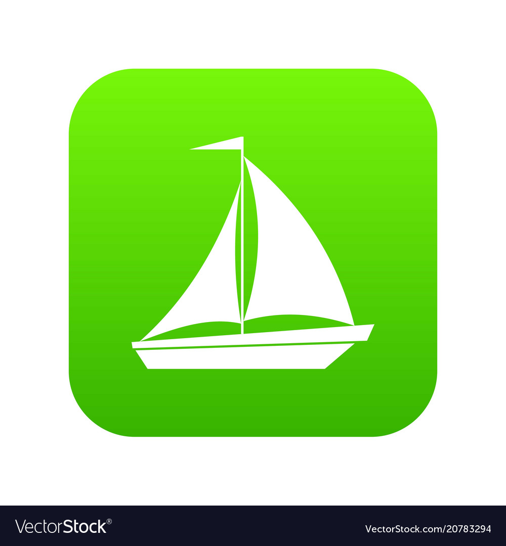 Boat with sails icon digital green