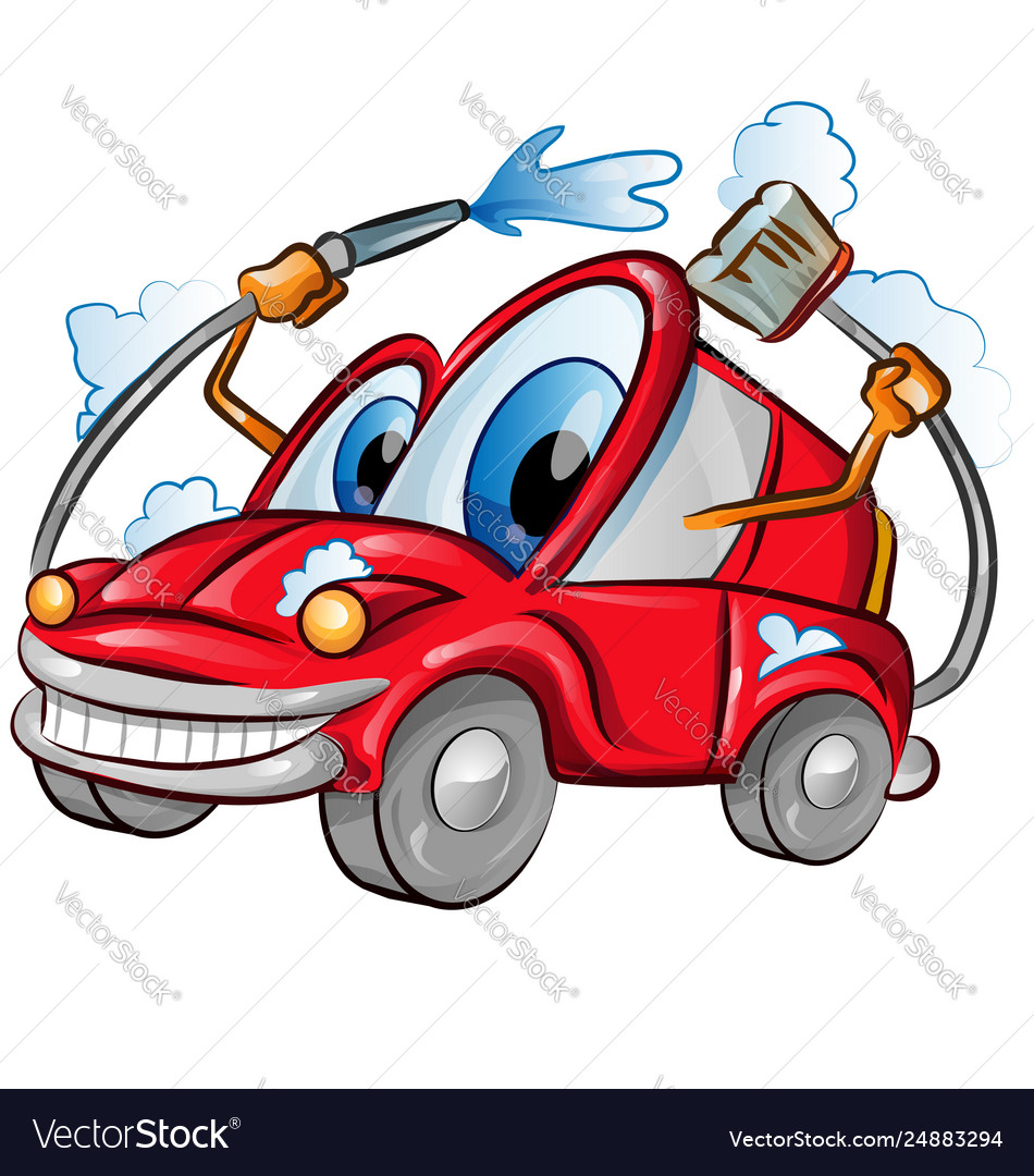 Car wash character cartoon over background white