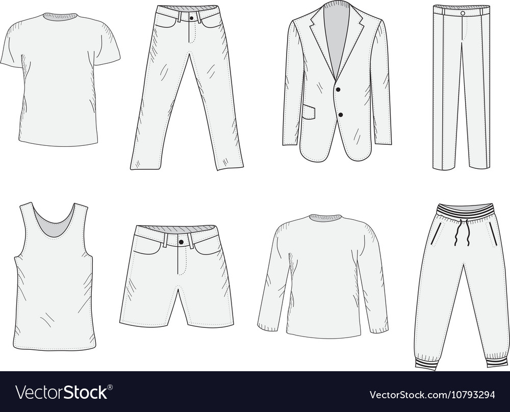Clothing set sketch Mens clothes hand-drawing
