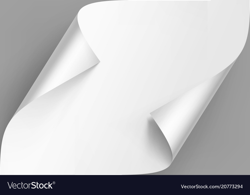 Curled corners of white paper with shadow
