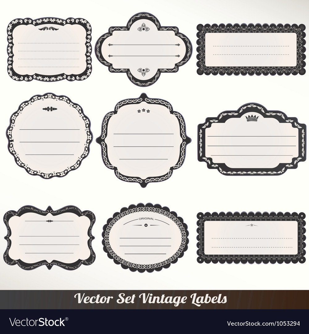 Frame labels Set ornamental vintage Royalty Free Vector