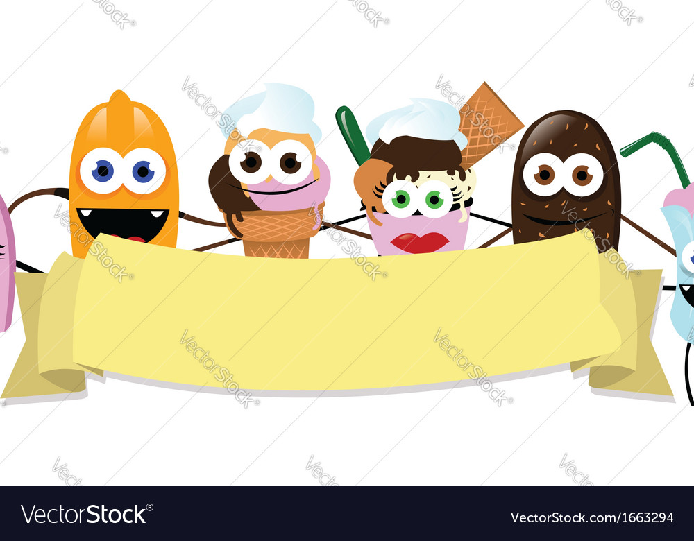 Funny Ice Cream Banner vector image