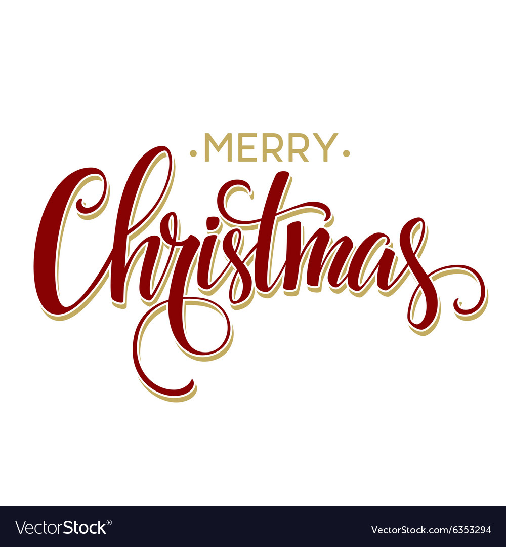 merry christmas lettering design royalty free vector image vectorstock
