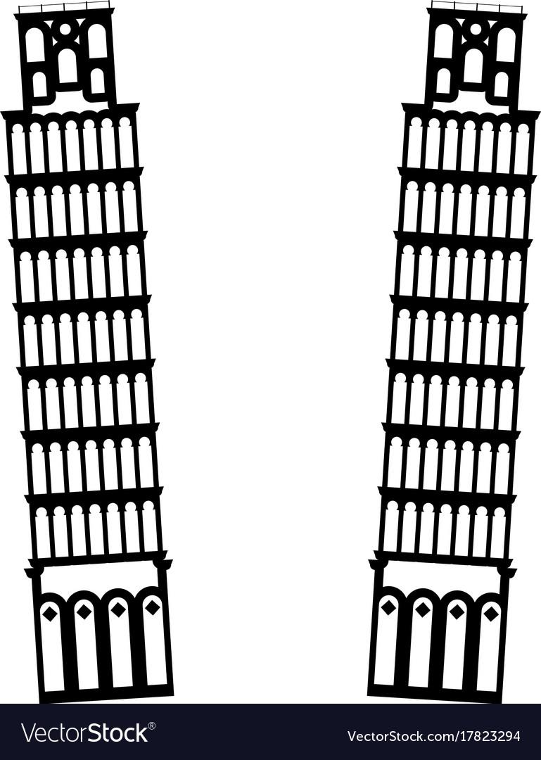 Pisa tower it is black icon