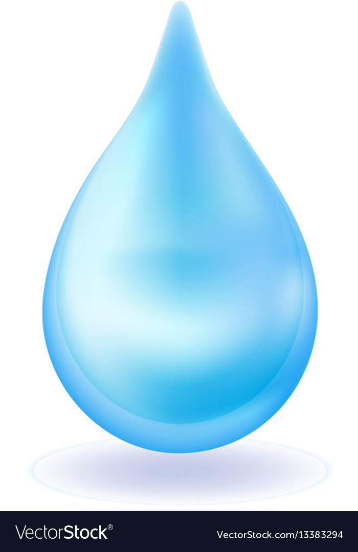 Realistic blue water drop 3d icon droplet falls