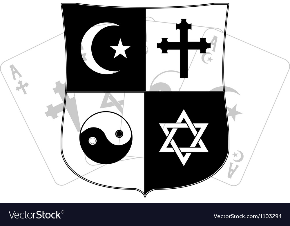 Stencil of shield and religious symbols