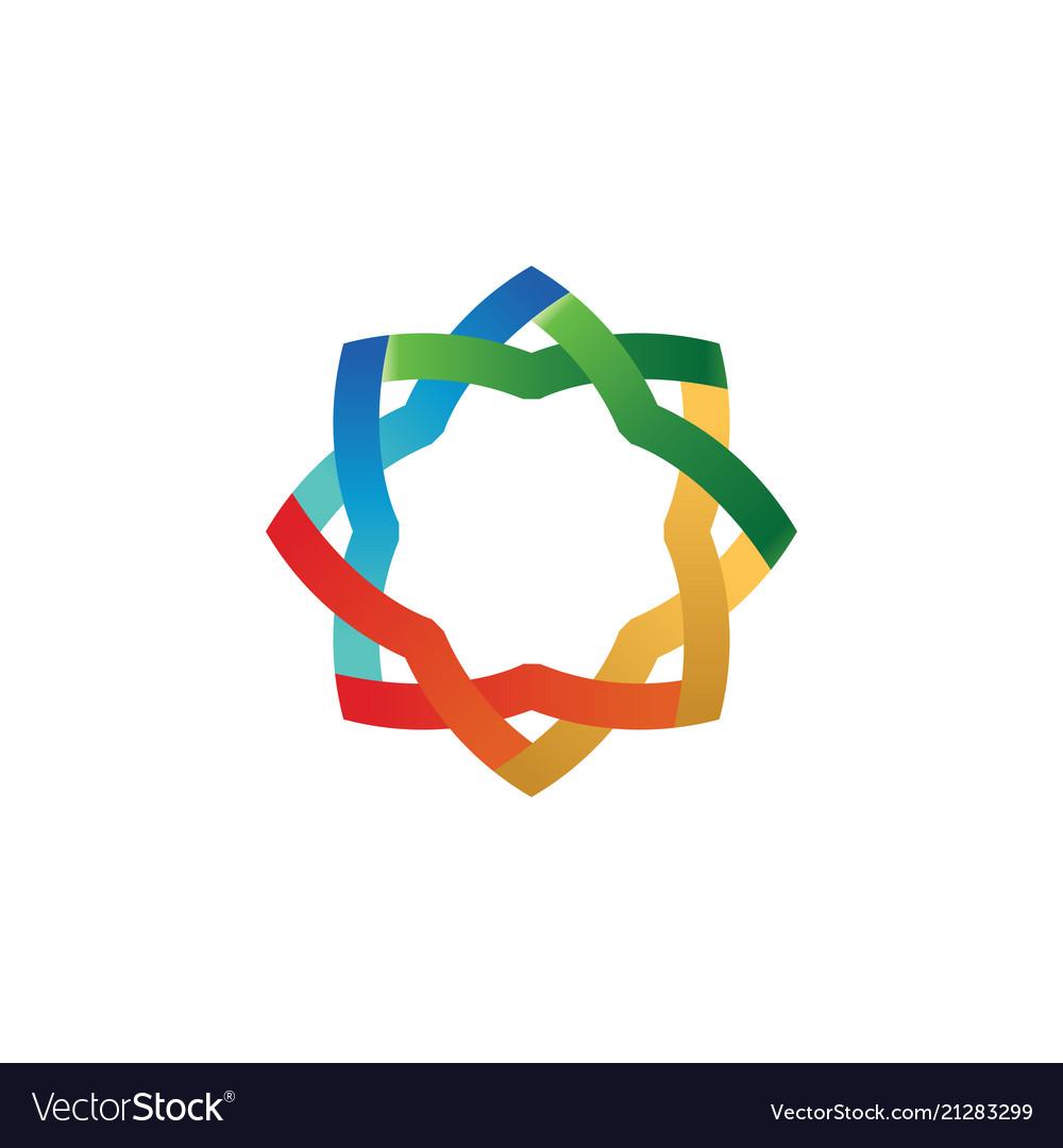 Abstract colorful ribbon circle template