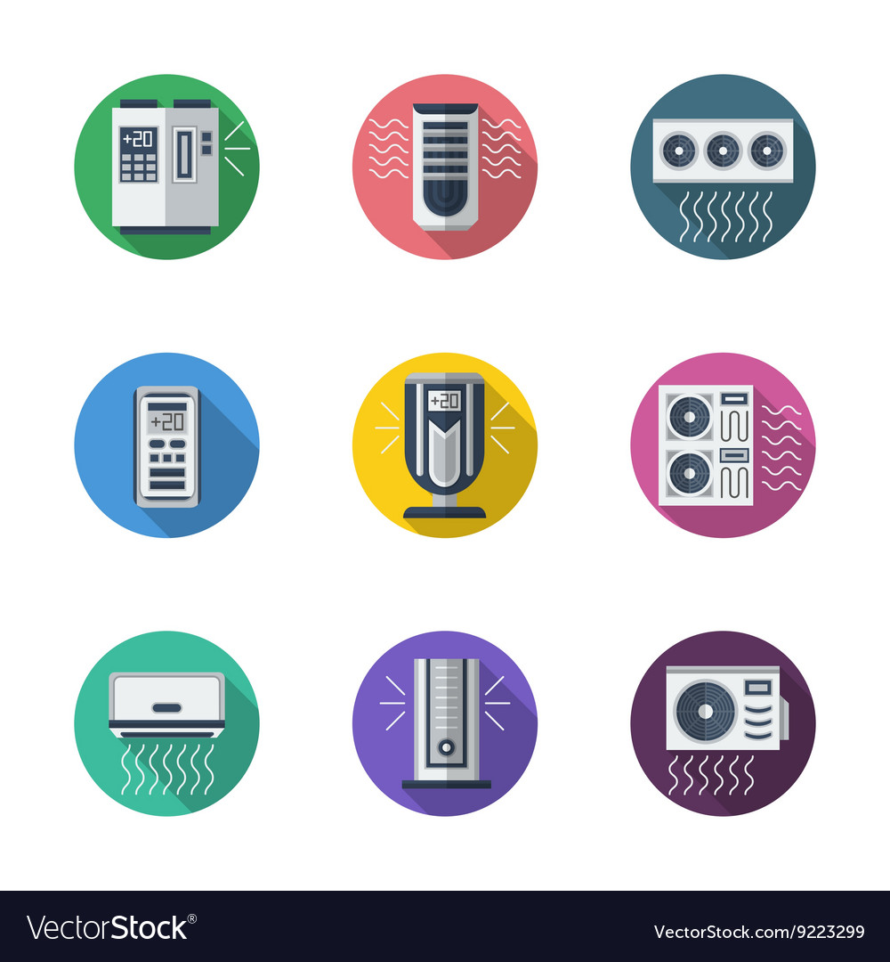 Air conditioning system round flat icons