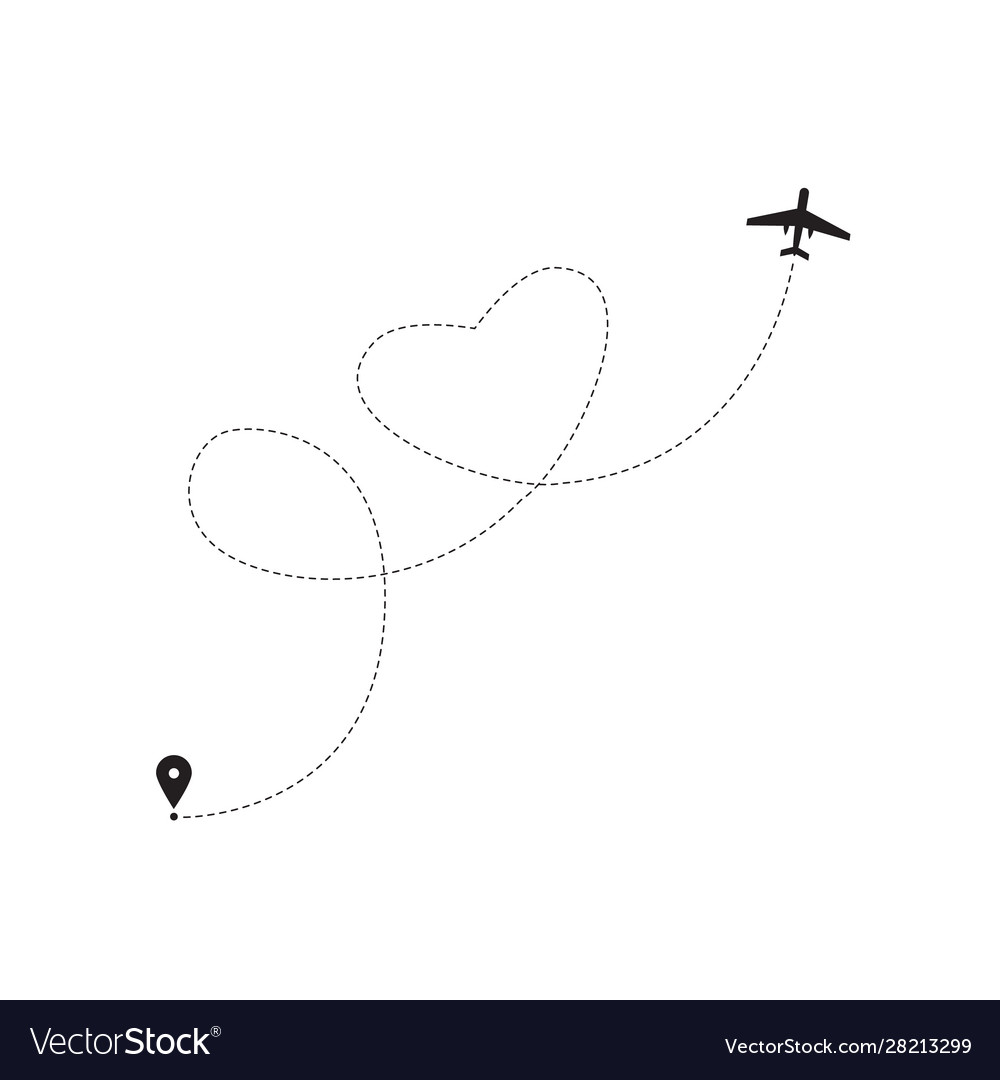 Airplane icon with dashed line flight path forming