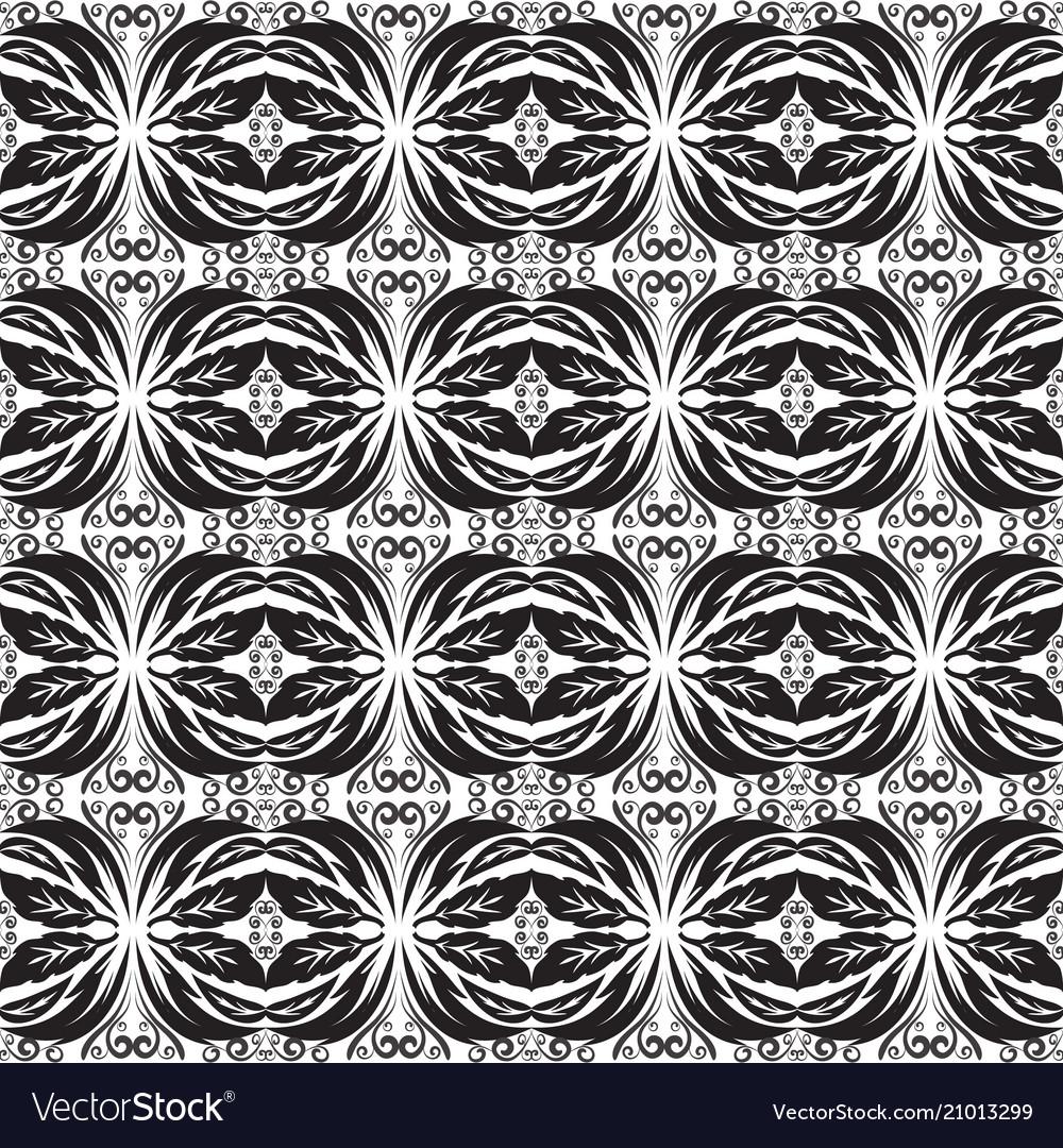Black and white baroque seamless border battern vector image