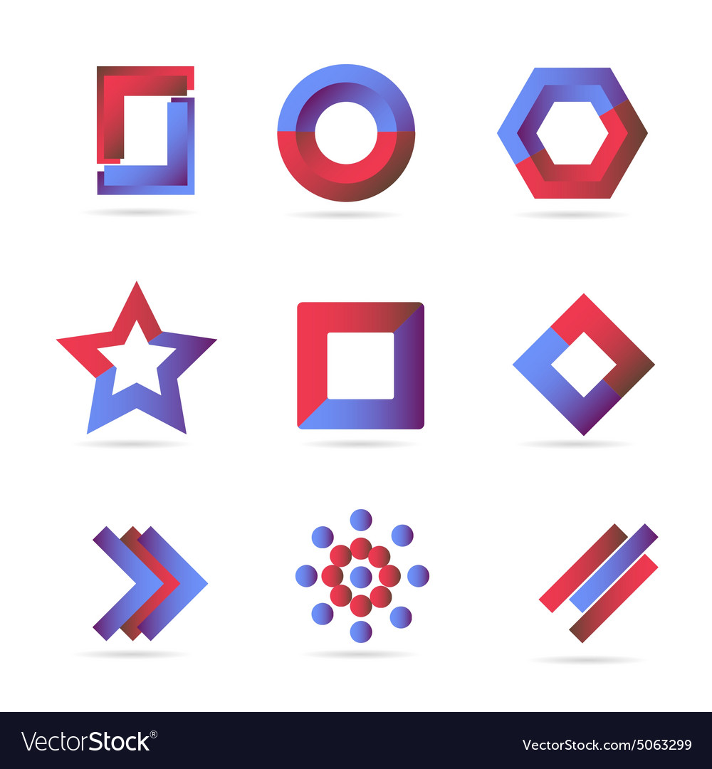 Blue red logo icons elements set