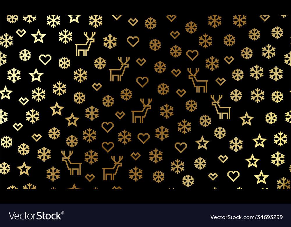 Christmas golden snowflake and deer pattern