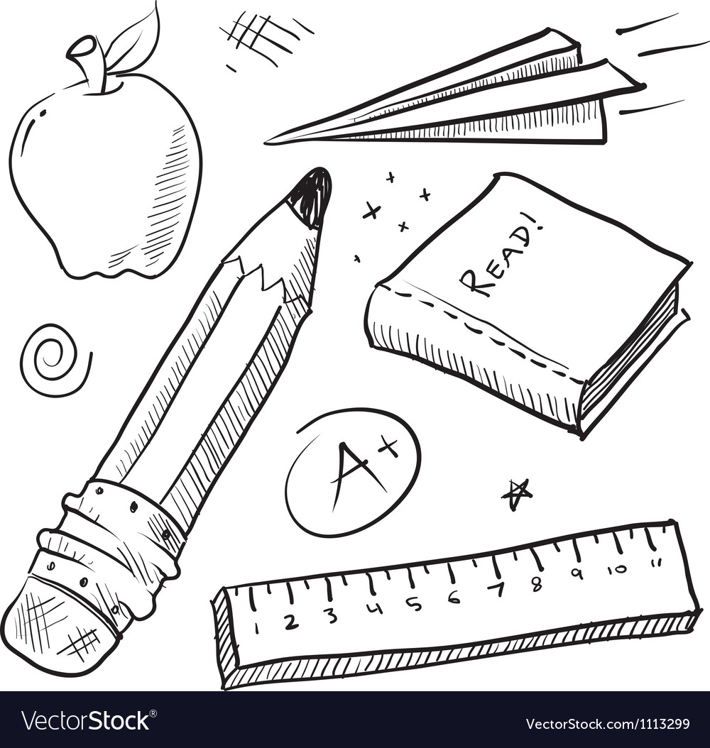 Doodle school book pencil paper apple learn vector image