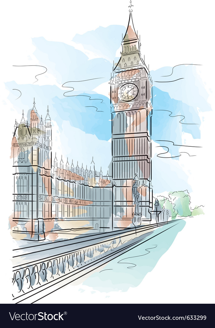 Drawing color big ben of tower in london uk vector image malvernweather Images