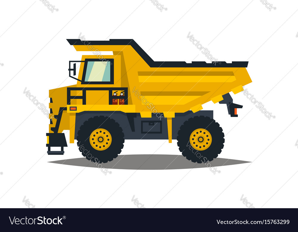 Dumper big car yellow truck isolated on white