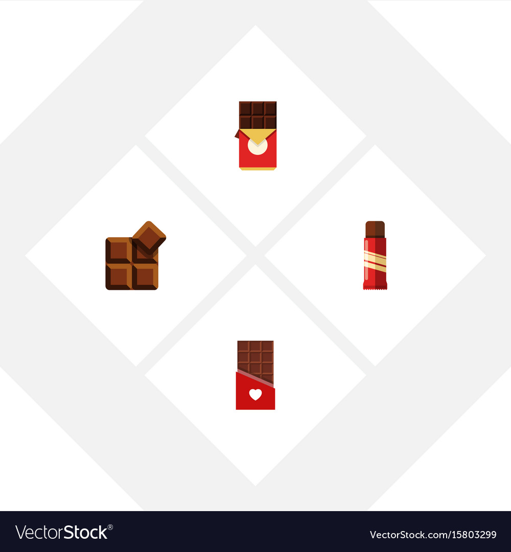 Flat icon chocolate set of sweet cocoa chocolate vector image