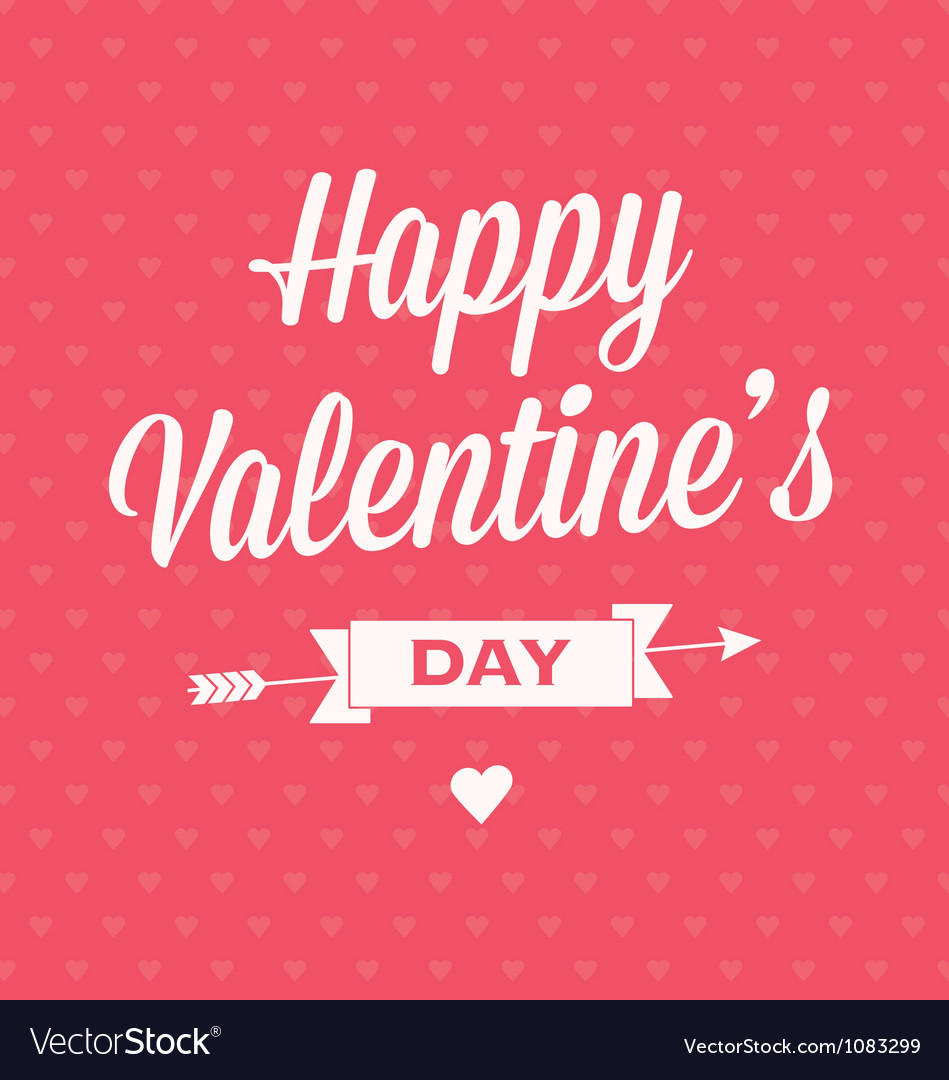 Happy Valentines day card with ribbons vector image