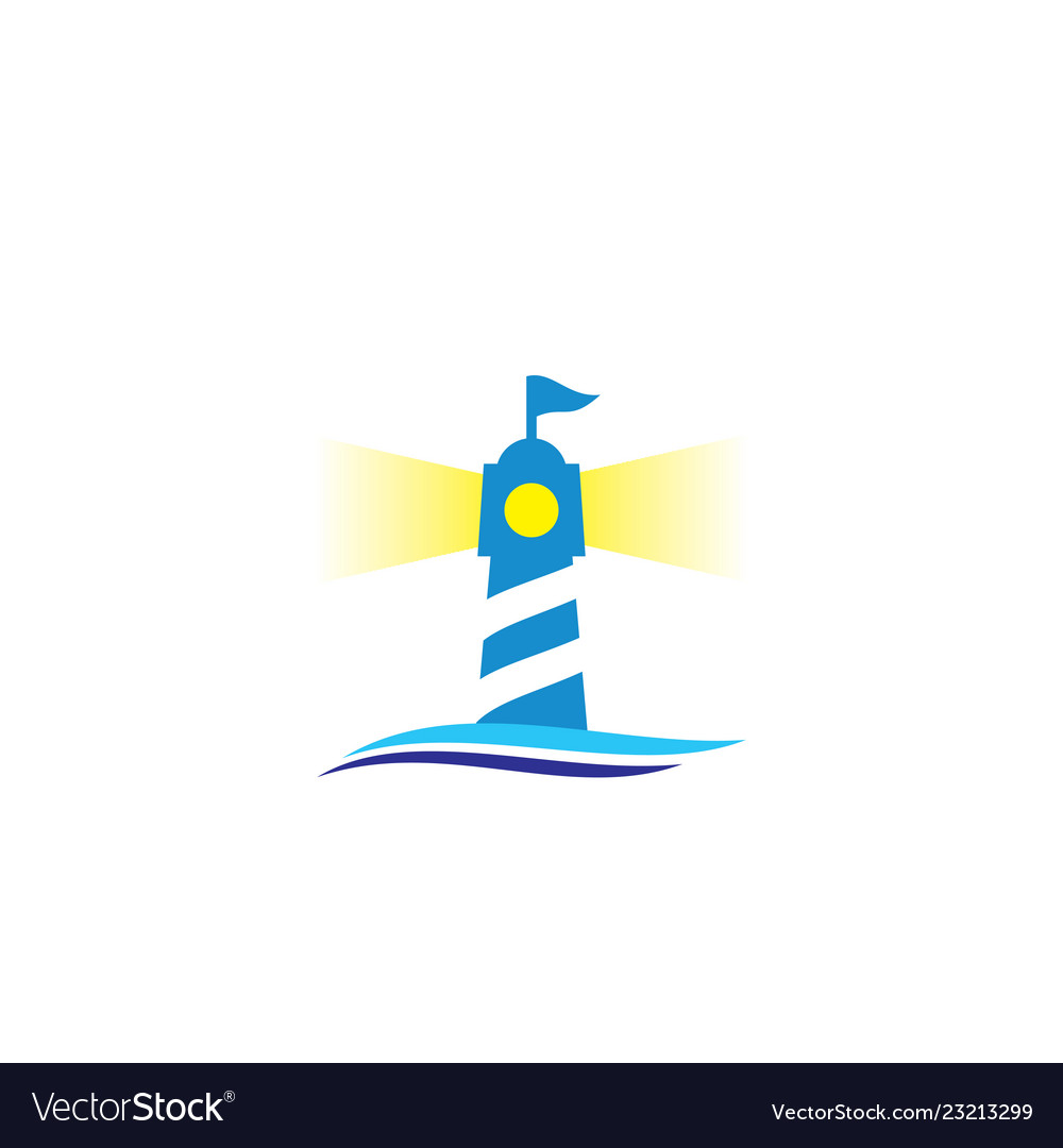 Lighthouse with wave logo vector