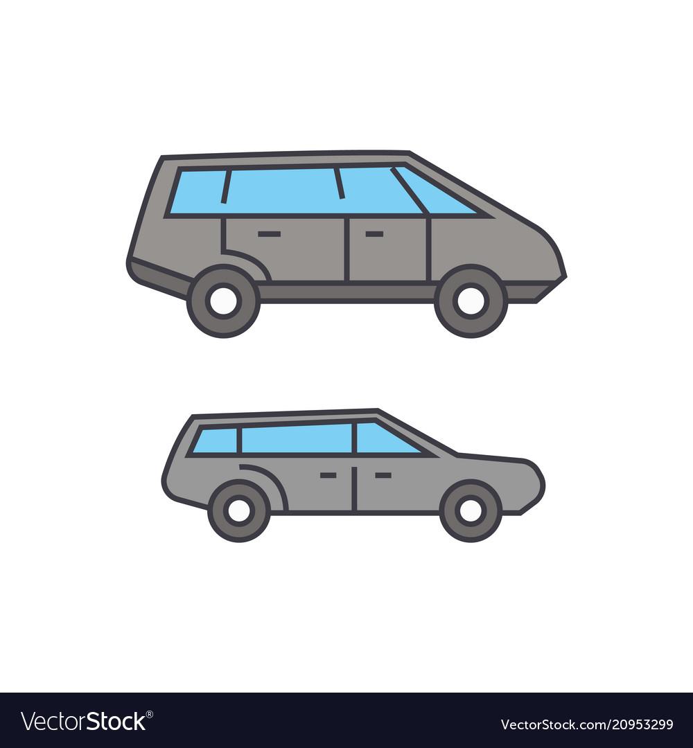 Minivan line icon concept minivan flat
