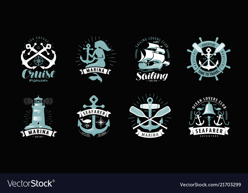 Nautical theme set of logos or labels cruise
