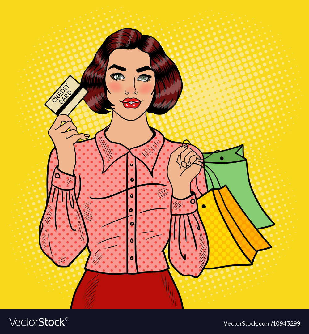 Pop art woman with shopping bags and credit card