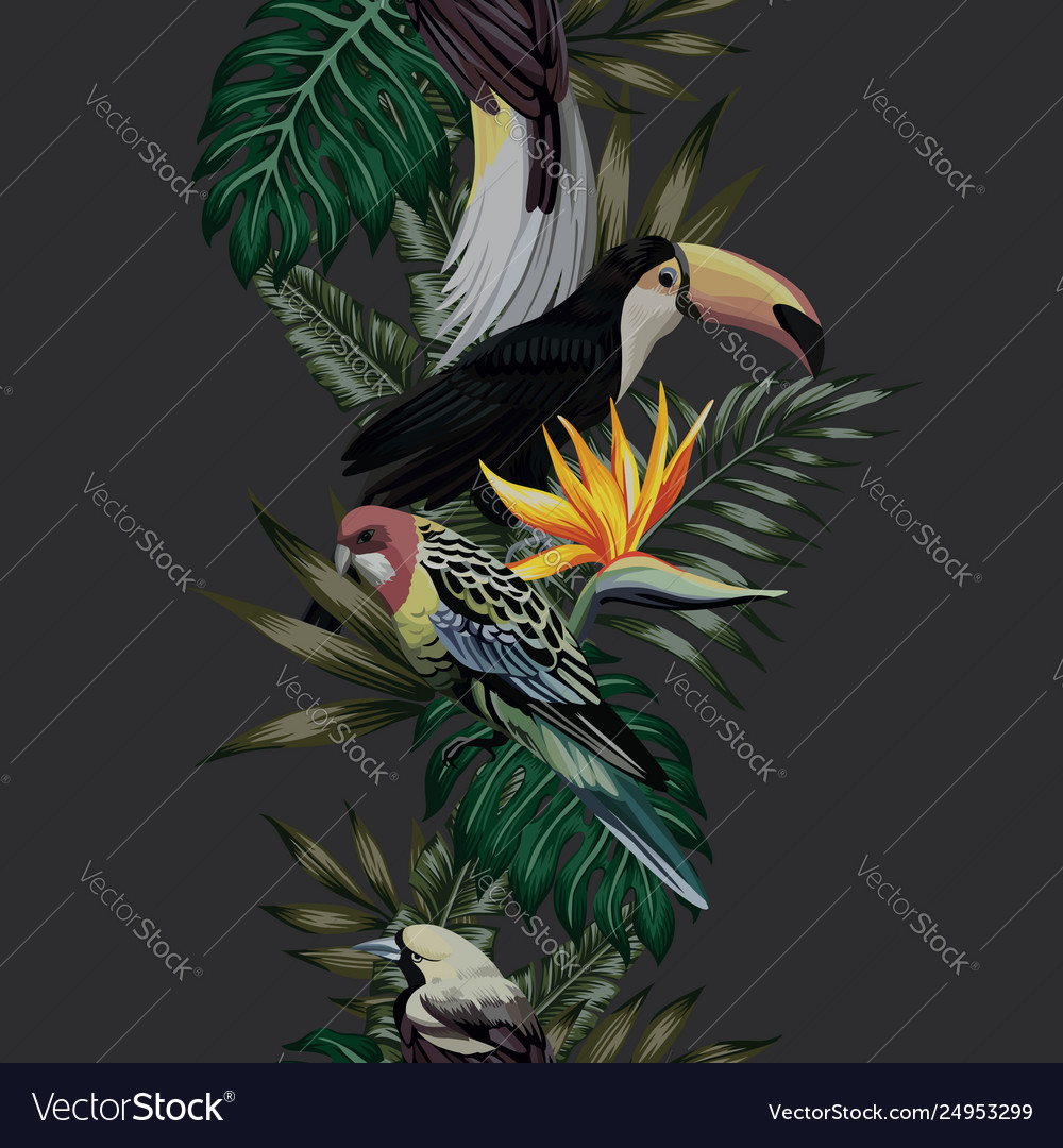 Tropical bird leaves and flowers seamless black