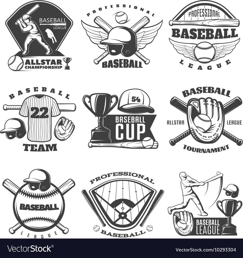 Baseball Black White Emblems
