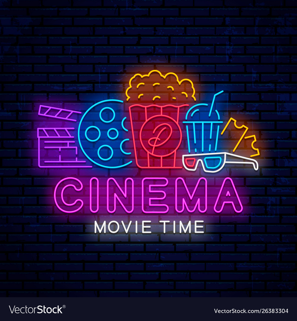Bright signboard for cinema