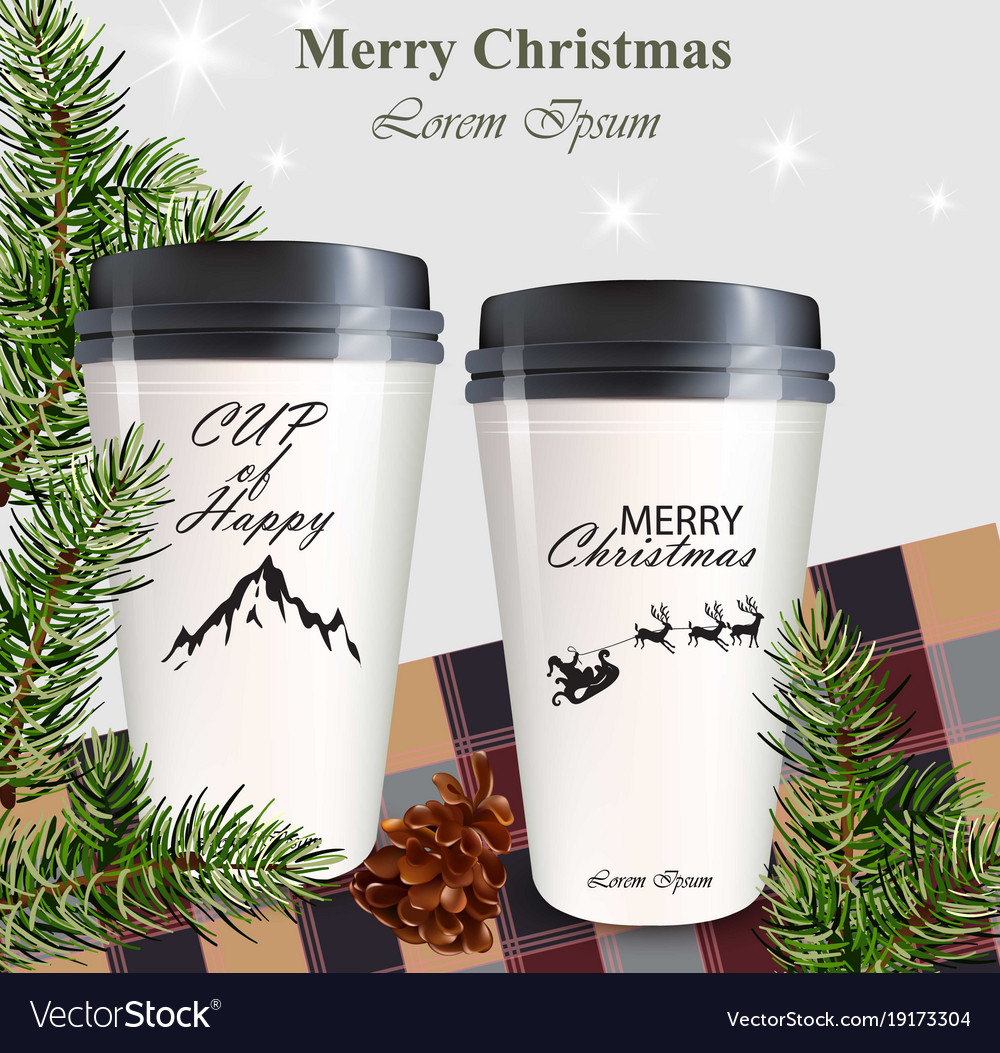 Coffee Cups To Go Realistic Mock Up Winter