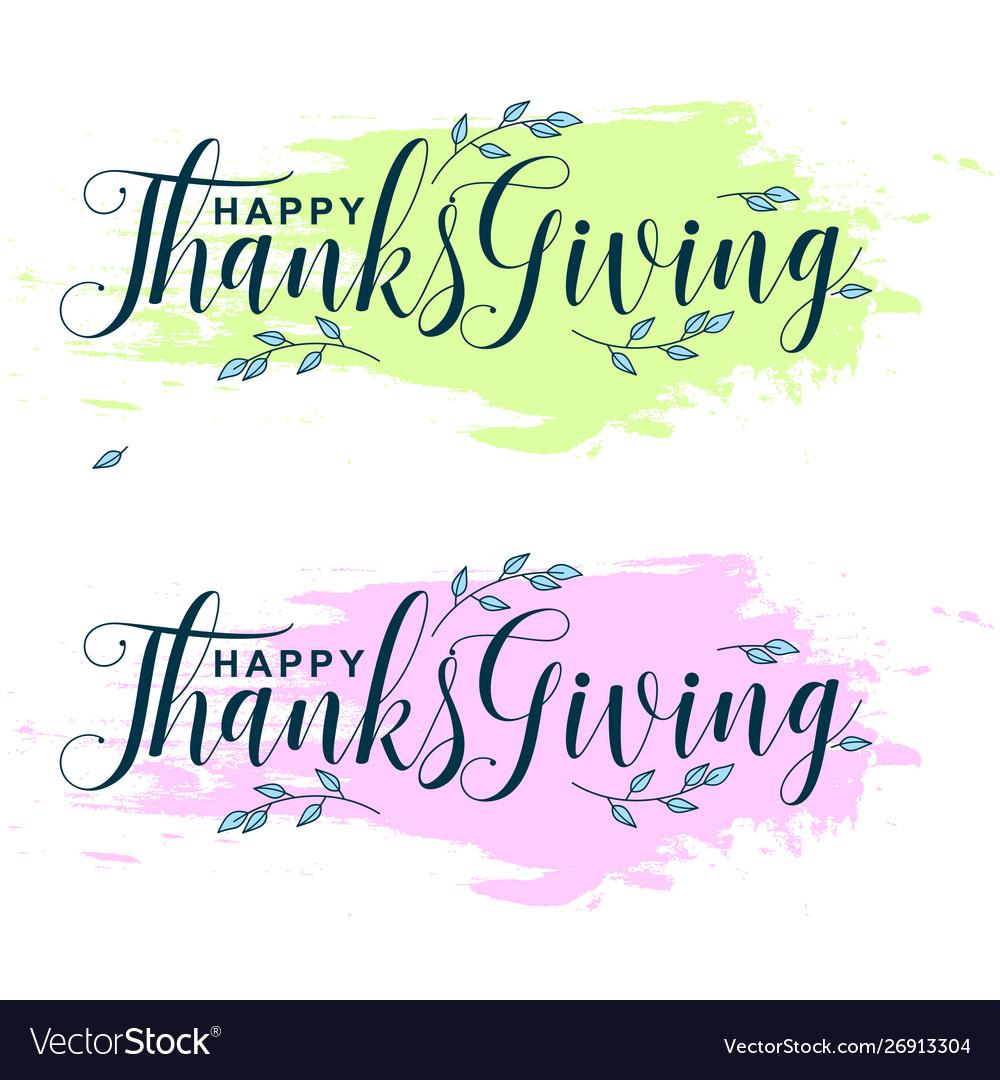 Handwritten ink thanksgiving lettering typography