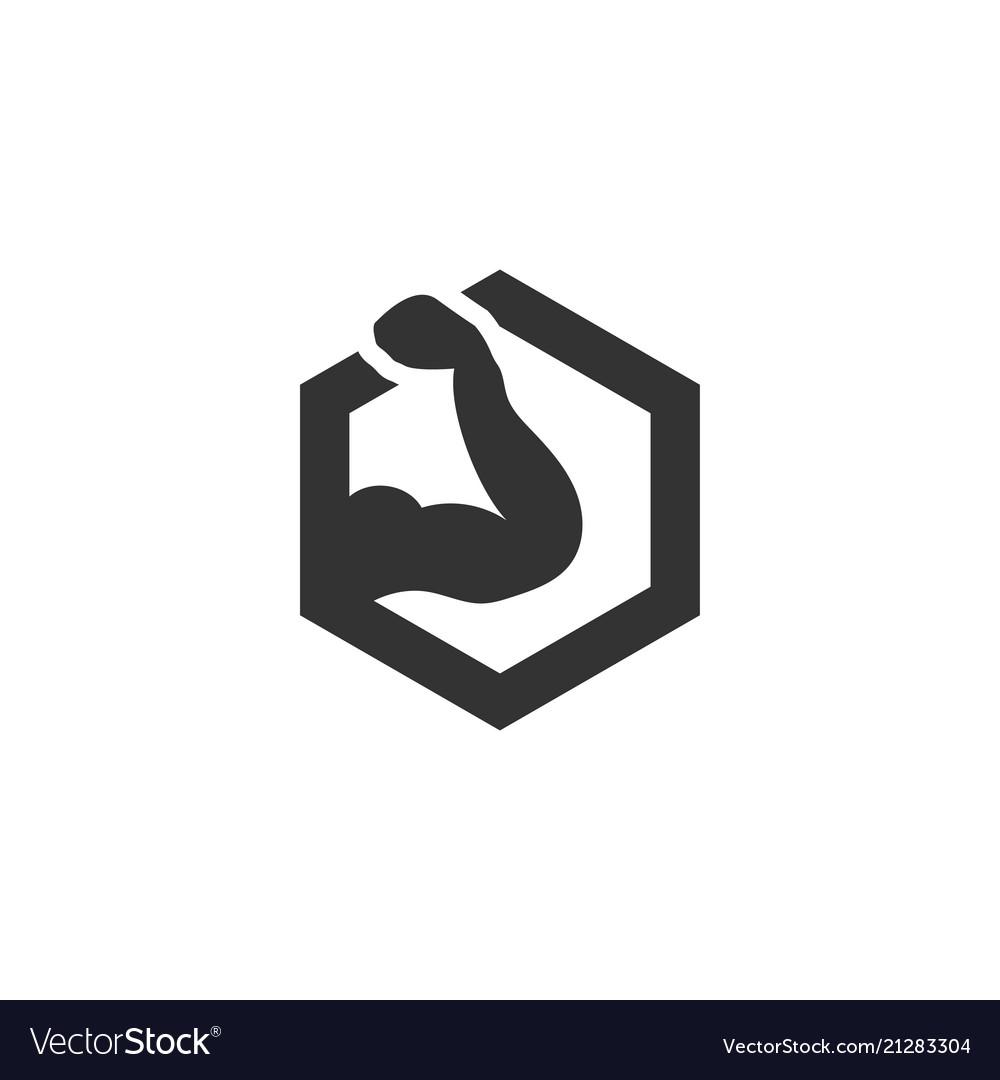 Muscular arm silhouette in hexagon