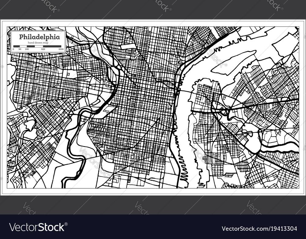 Philadelphia pennsylvania usa map in black and
