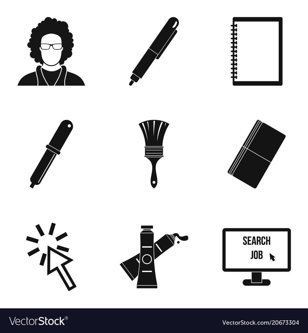 Programming device icons set simple style