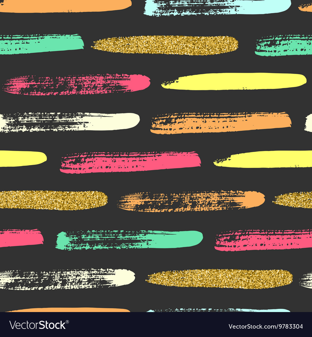 Seamless pattern with gold glitter brush strokes