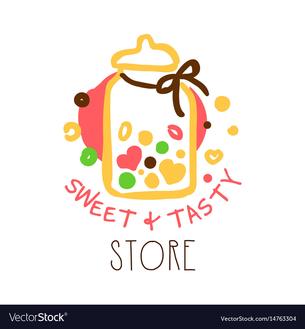 Sweet and tasty store logo colorful hand drawn