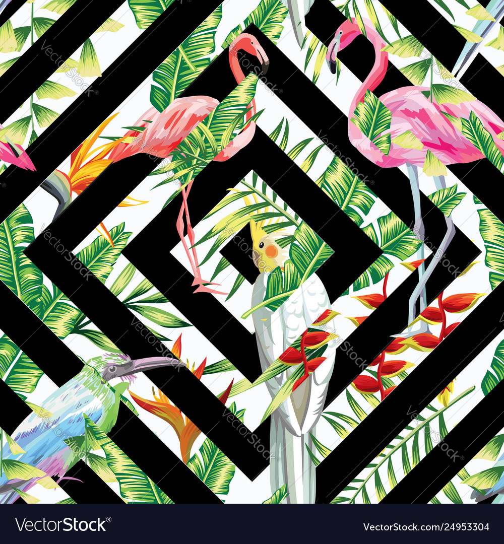 Tropical birds leaves seamless geometric