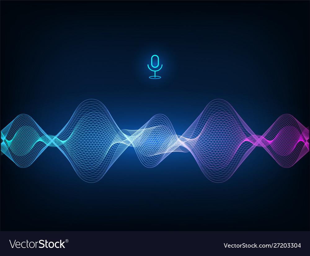 Voice assistant concept sound wave