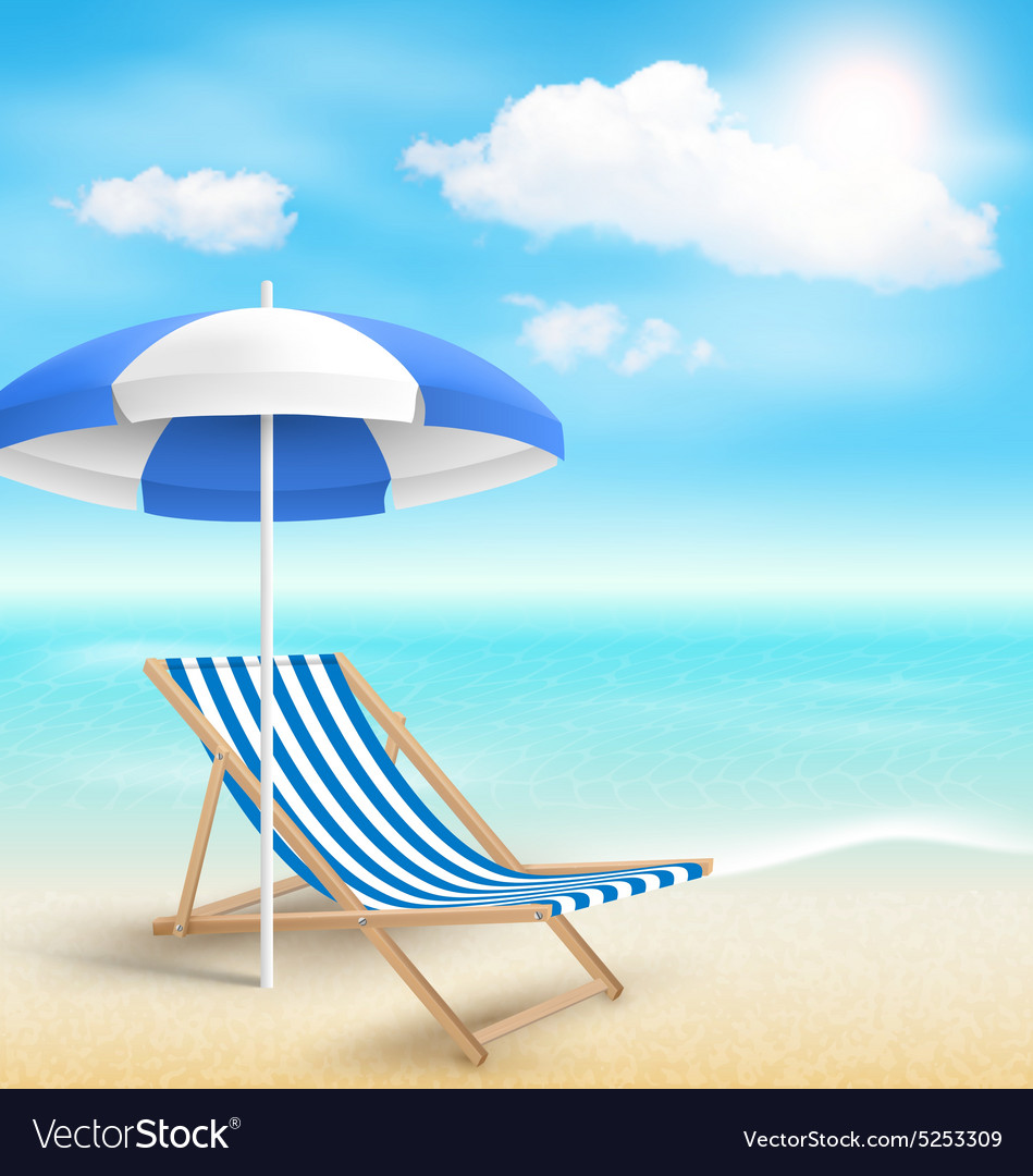Beach Umbrella Chair And Vector Image