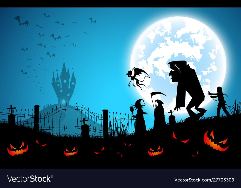 Blue backgroundfestival halloween conceptfull