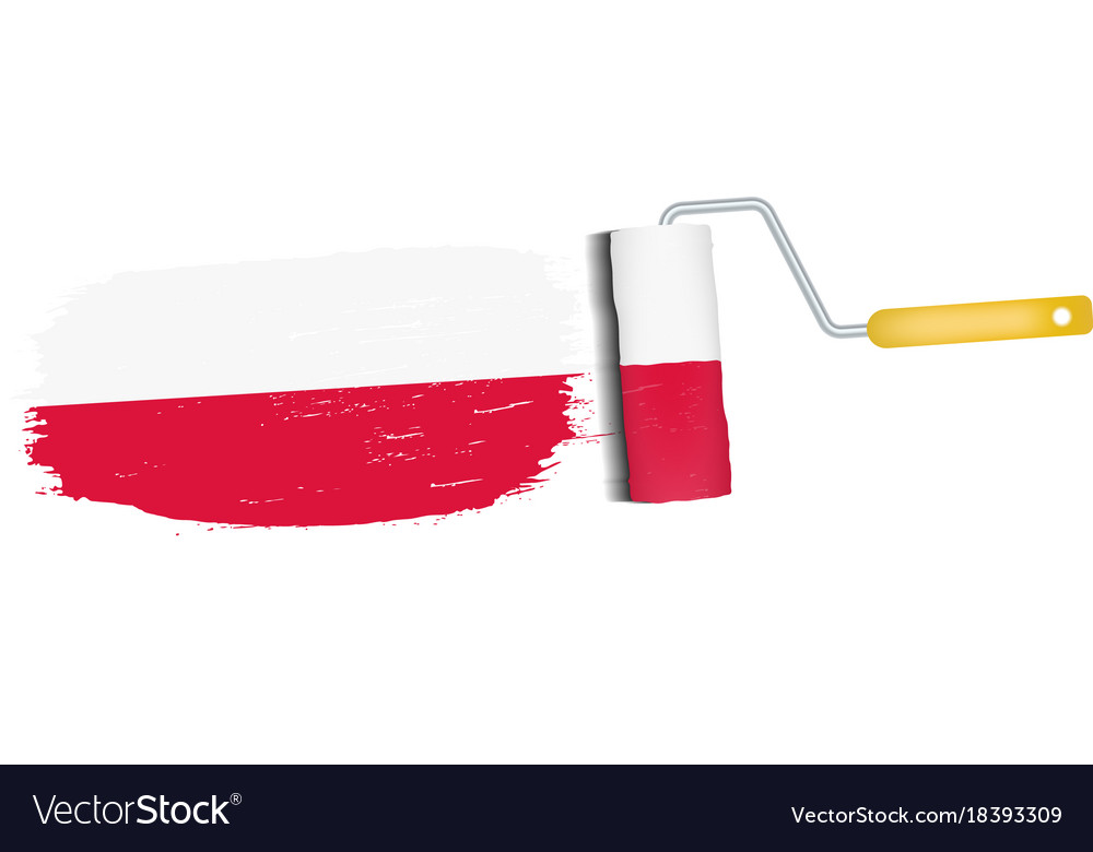 brush stroke with poland national flag isolated on