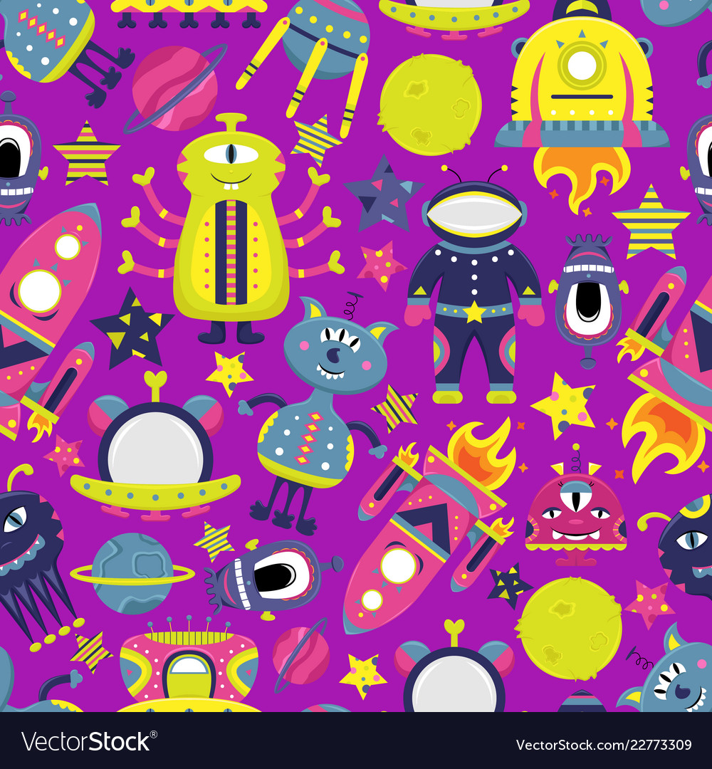 Cartoon seamless pattern with flat aliens