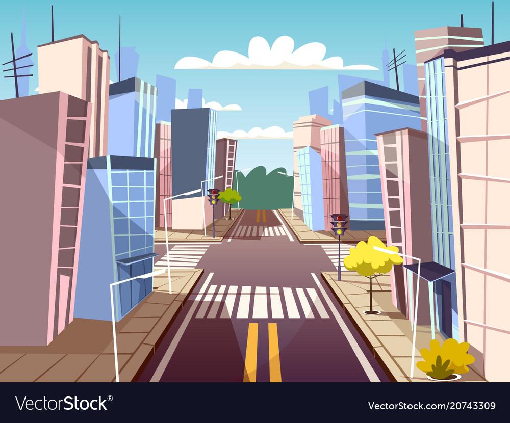 Cartoon urban crossroad concept