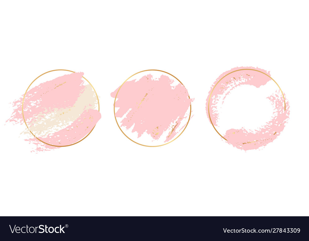 Gold pink background circle gold frames with