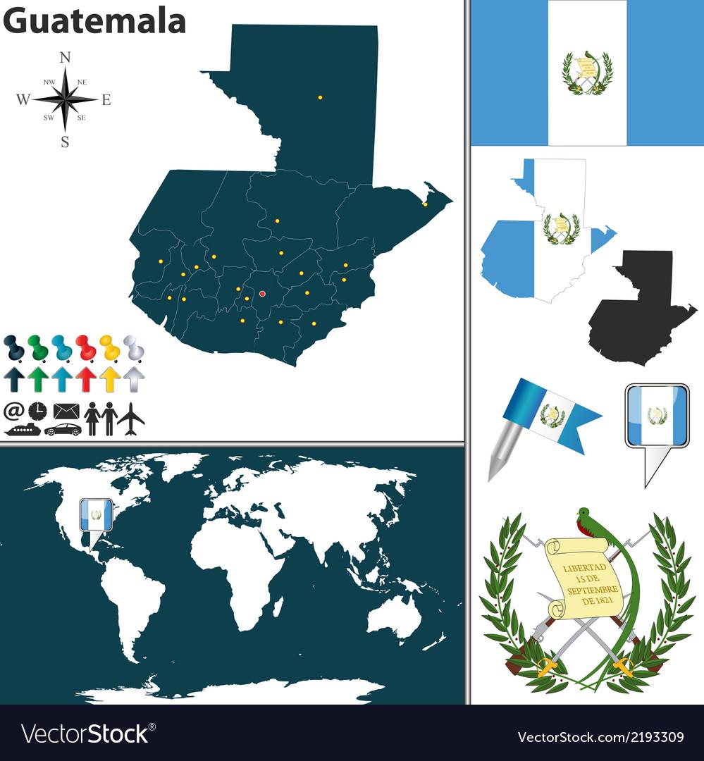 Guatemala map world Royalty Free Vector Image - VectorStock