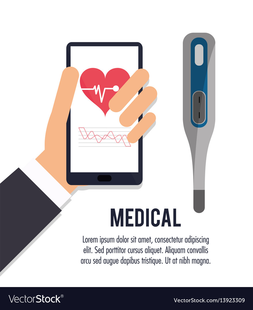 Hand with smartphone thermometer medical health