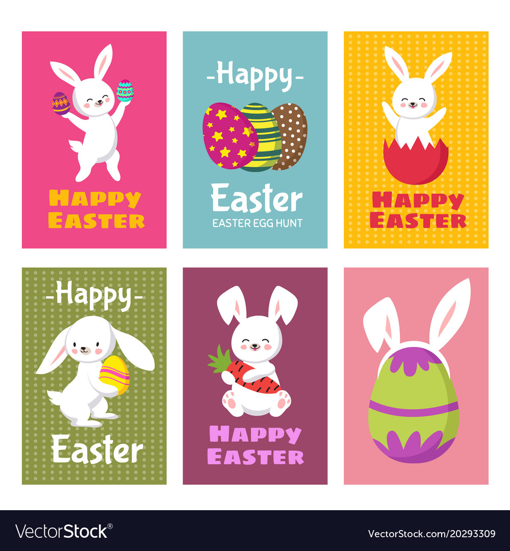 Happy Easter Greeting Cards With Cartoon Vector Image
