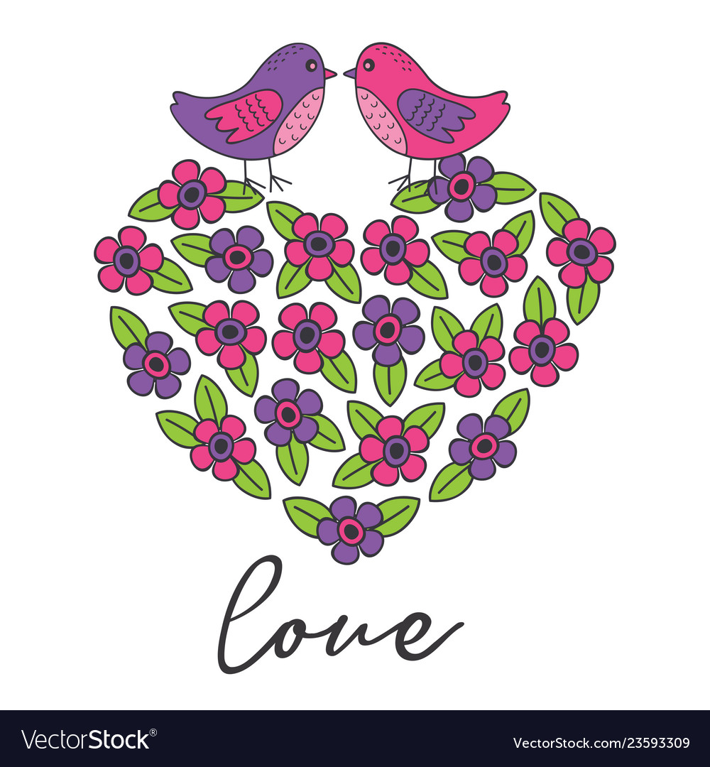 Love card with birds on heart of the flowers